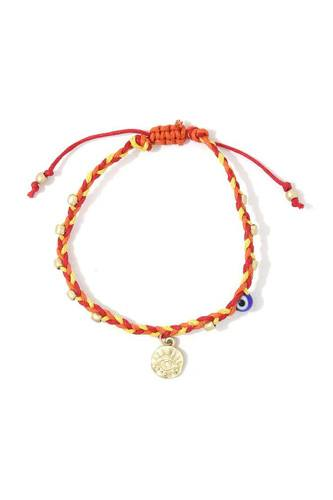 Evil eye coin beaded adjustable bracelet-id.cc39322