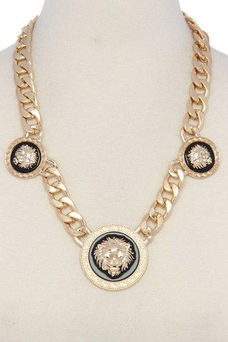 Lion cuban chain short necklace-id.cc39332