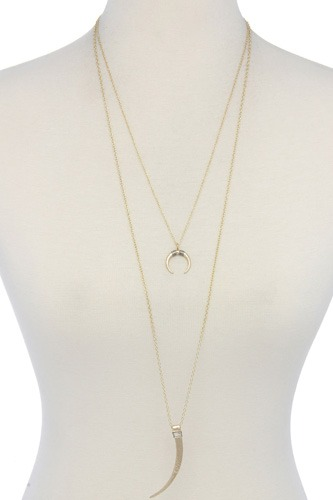 Hammered tooth pendant multi layered necklace-id.cc39334