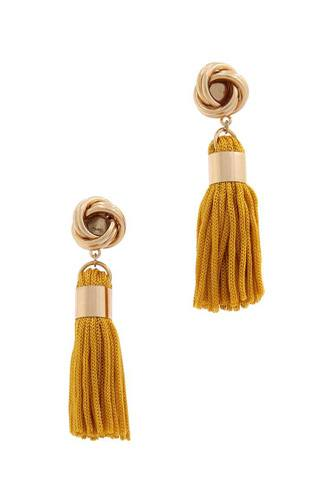 Knot tassel post drop earring-id.cc39335