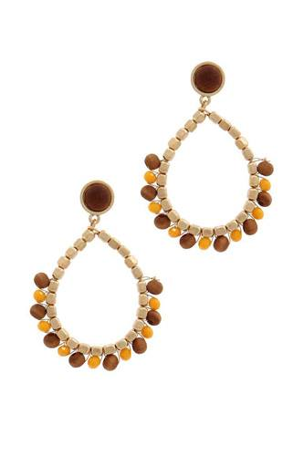 Circle beaded post drop earring-id.cc39336