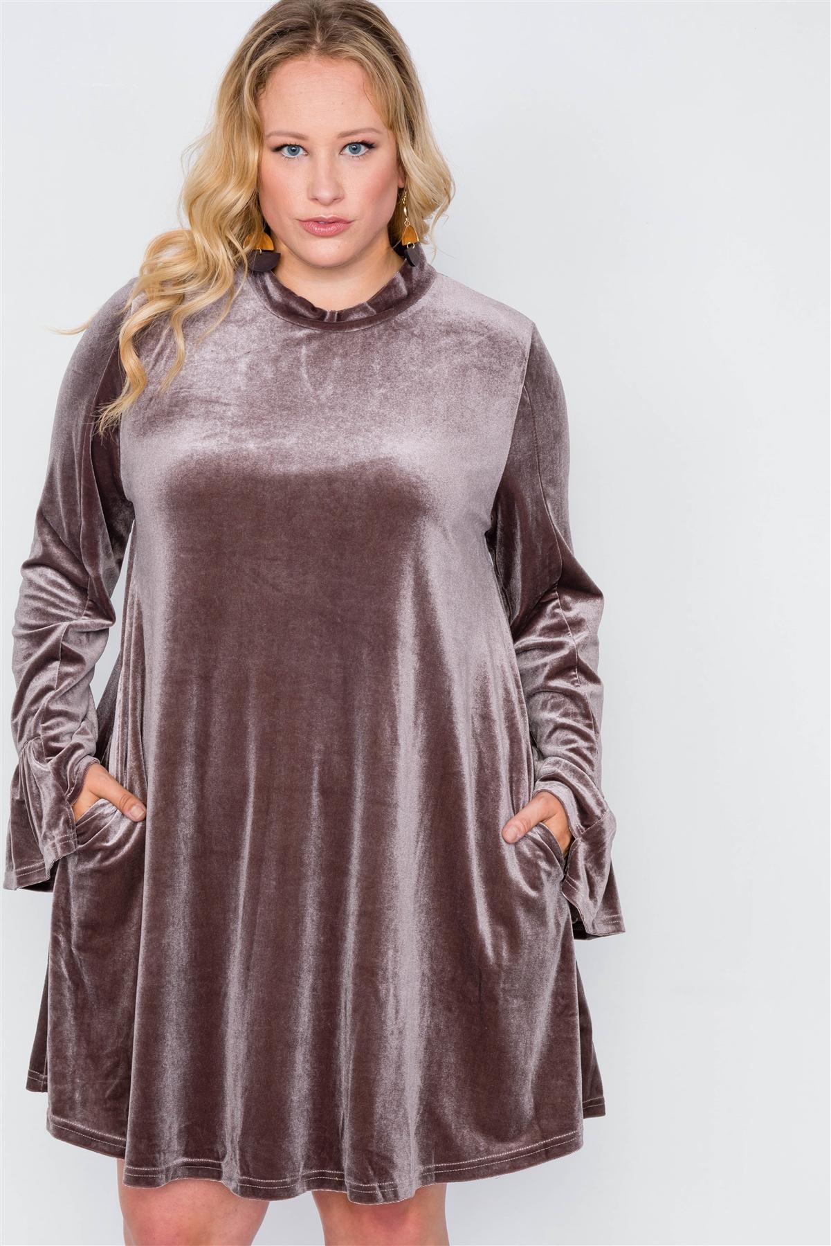Plus size velvet long sleeve mini dress-id.cc39341