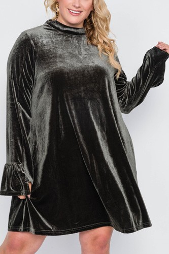 Plus size velvet long sleeve mini dress-id.cc39341a