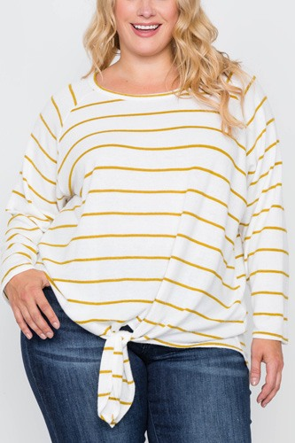 Plus size ivory mustard stripe soft long sleeve top-id.cc39342