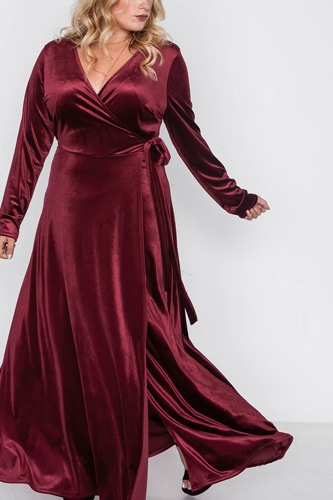 Plus size velvet surplice neck maxi dress-id.cc39344
