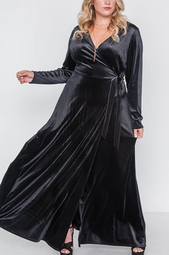Plus size velvet surplice neck maxi dress-id.cc39344a