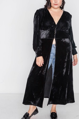 Plus size black velvet maxi top cover up-id.cc39346