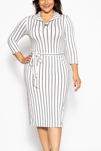 Solid striped, midi tee dress-id.cc39348