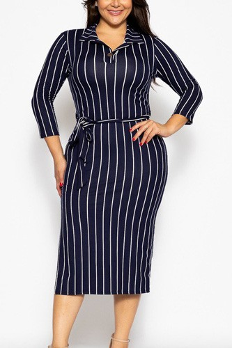 Solid striped, midi tee dress-id.cc39348b