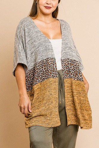 Short sleeve knit and animal print color blocked open front kimono-id.cc39352