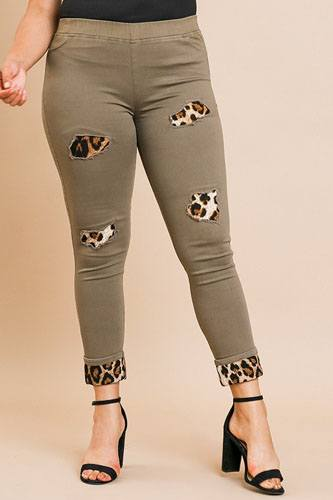 Skinny pants with animal print patches and rolled cuff hem-id.cc39353a