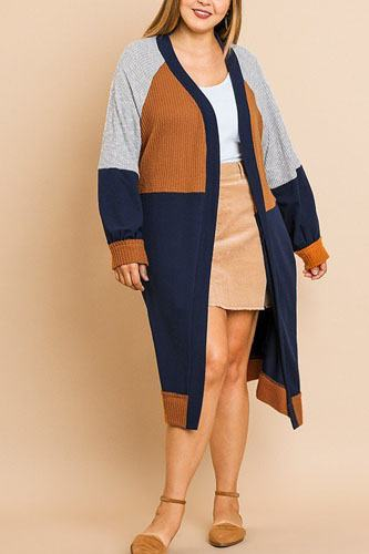 Color blocked long puff sleeve ribbed knit long open front sweater cardigan-id.cc39354