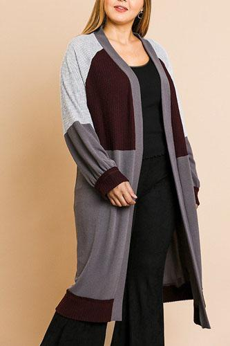 Color blocked long puff sleeve ribbed knit long open front sweater cardigan-id.cc39354a