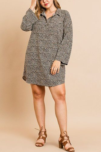 Animal print long sleeve collared dress with chest pockets and scoop hem-id.cc39355