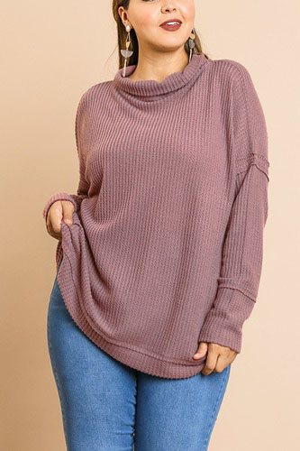 Waffle knit long sleeve high folded neck top-id.cc39356