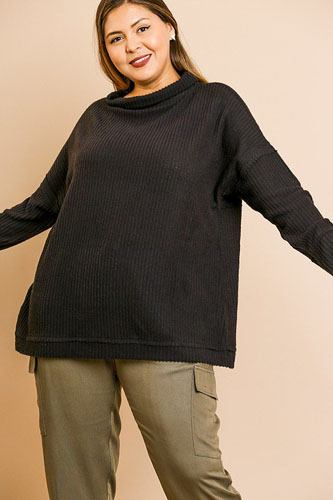 Waffle knit long sleeve high folded neck top-id.cc39356b