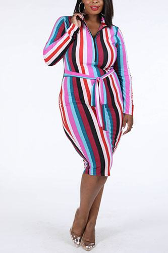 Multi stripe zip up dress-id.cc39357