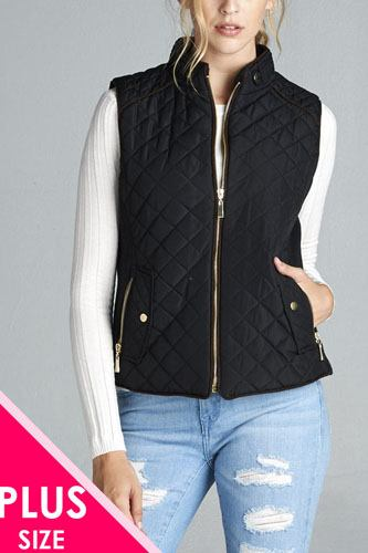 Quilted padding vest with suede piping details-id.cc39362
