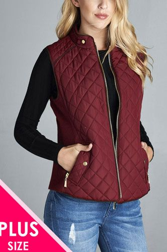 Quilted padding vest with suede piping details-id.cc39362a