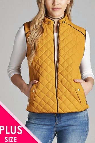 Quilted padding vest with suede piping details-id.cc39362b