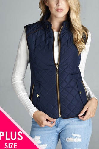 Quilted padding vest with suede piping details-id.cc39362c