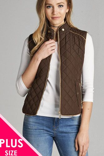 Quilted padding vest with suede piping details-id.cc39362d