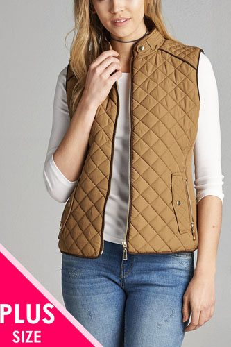 Quilted padding vest with suede piping details-id.cc39362e