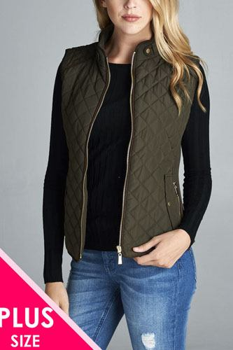 Quilted padding vest with suede piping details-id.cc39362f
