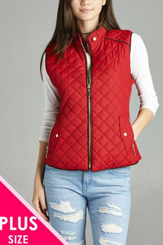 Quilted padding vest with suede piping details-id.cc39362g