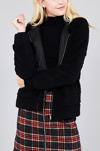 Hoodie side pocket faux fur zip-up jacket-id.cc39363