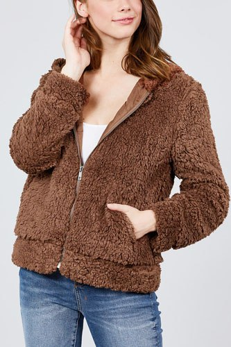 Hoodie side pocket faux fur zip-up jacket-id.cc39363a