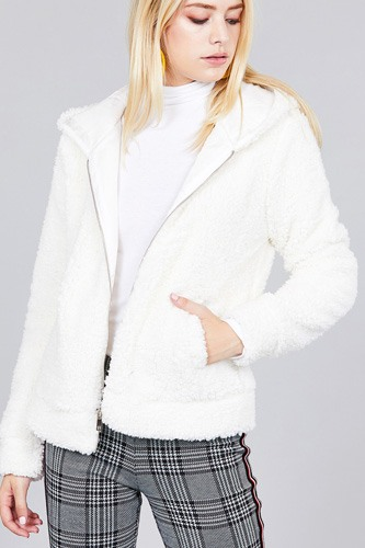 Hoodie side pocket faux fur zip-up jacket-id.cc39363d