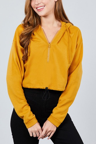 Long sleeve zip up hoodie inner fleece toggle elastic hem crop top-id.cc39364b