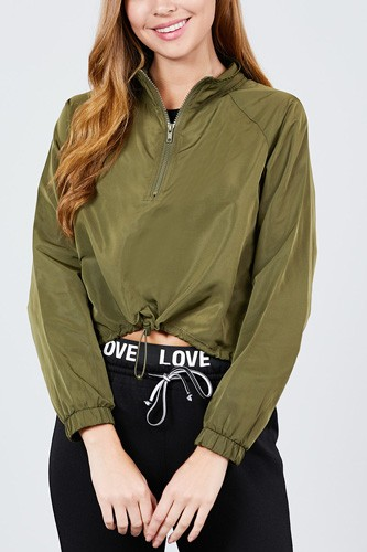 Long raglan sleeve mock neck toggle elastic hem wind breaker crop top-id.cc39365c