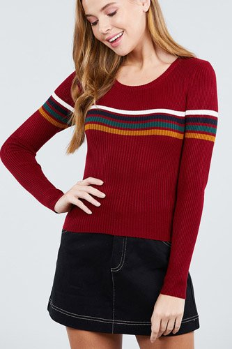 Long sleeve round neck stripe sweater top-id.cc39366a