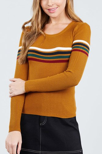 Long sleeve round neck stripe sweater top-id.cc39366b
