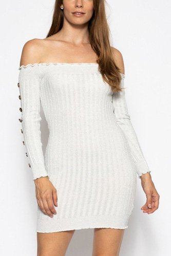 Off the shoulder knit sweater dress-id.cc39382