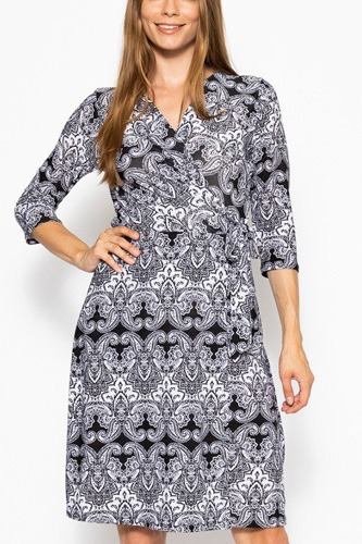 V-neck line 3/4 sleeve dress-id.cc39384a