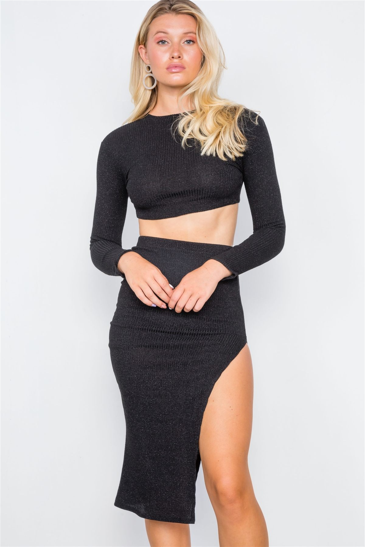 Knit Ribbed Two Piece Crop Top Skirt Set Id Cc39403