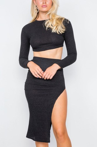 Knit ribbed two piece crop top skirt set-id.cc39403