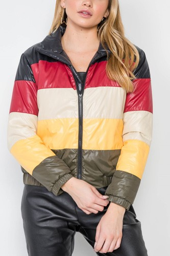 Multi color block zip-up puffer jacket-id.cc39408
