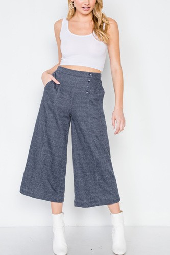 Knit side button wide leg ankle pants-id.cc39410a