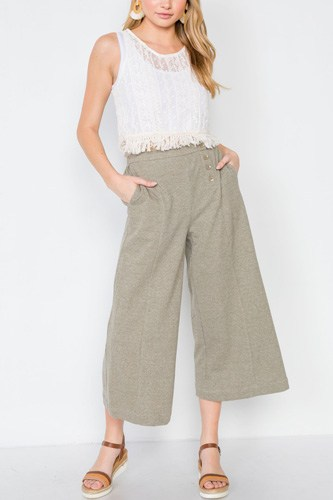 Knit side button wide leg ankle pants-id.cc39410b