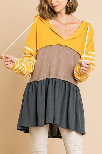 Striped long sleeve color blocked hooded tunic with drawstring and ruffle hem-id.cc39419a
