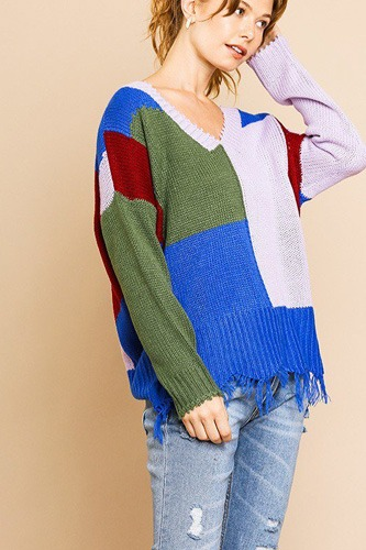 Color blocked long sleeve v-neck knit pullover sweater-id.cc39421a