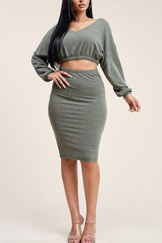 Solid cropped top and skirt two piece set-id.cc39425d