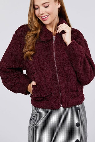 Long sleeve pouch pocket w/collar faux fur jacket-id.cc39432a
