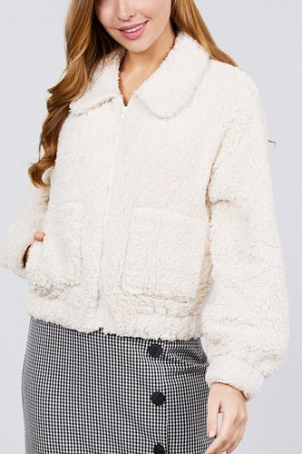 Long sleeve pouch pocket w/collar faux fur jacket-id.cc39432c