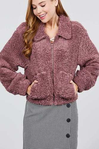 Long sleeve pouch pocket w/collar faux fur jacket-id.cc39432d