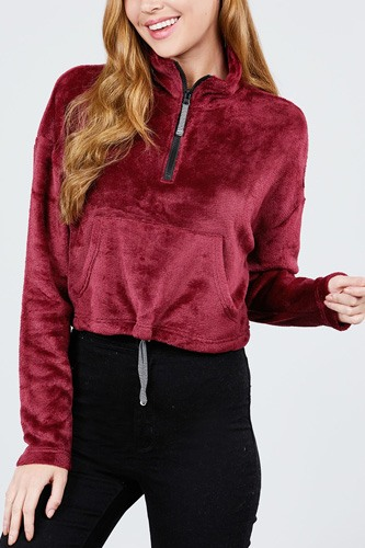 Long dolman sleeve mock neck w/zipper detail kangaroo pocket bottom w/stopper-id.cc39433